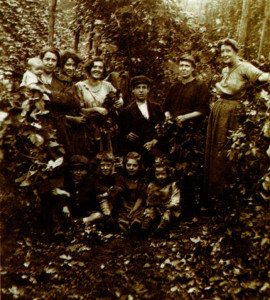 Left: Hop-picking days between the wars in Kent, with Violet Simpson's gran to the left of the lad (an uncle) and the writer's mother on his right.