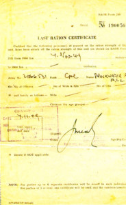 The 'last ration certificate' for 21066531 Cpl. Drinkwater on November 7 1949.