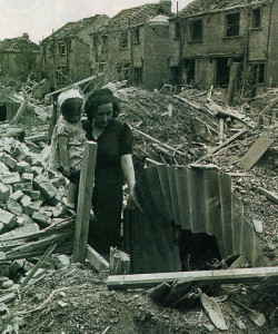 All around are devastated houses yet this mother and her four children survived to tell the tale in 1944 thanks to their shelter.