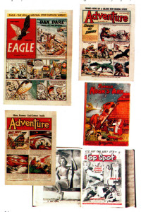 Left: Memories from the 1950s, with the first issue of Eagle, then three-pence, at the top left, sharing space in a Comic Book Postal Auctions catalogue with Adventure, Top Spot and a Father Noah's Ark book.