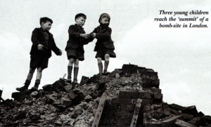 Three young children reach the 'summit' of a bomb-site in London. Photo: Hulton Getty Picture Collection