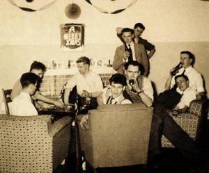 Frank (far back) and friends enjoy their 'Christmas'  room