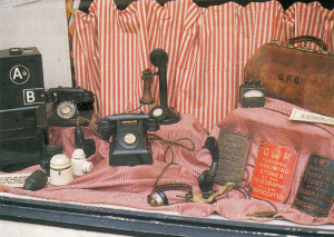 Press Button B to get your money back. Like many other things in life, telephones have changed since the Thirties. This lovely display was seen in a Kirkwall shop window in the Orkneys.