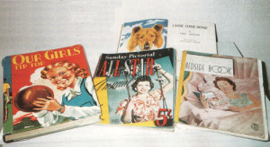 Some of the books Irene Purslow received as Christmas presents after the war, including Our Girls' Tip Top and Lassie Come Home