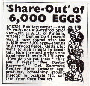 One of the syndicated classified advertisements which used to be placed in many newspapers by Karswood Poultry Spice.