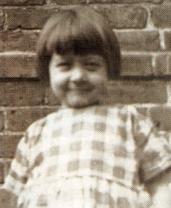 The mischievous face of Marj. Busby when she was a toddler living in a flat at West Hendon High Street.