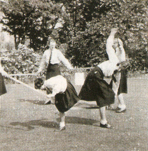 Practising a folk dance at the camp.