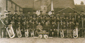 The Silver Band photographed outside the rehearsal room six months before Mr. Skinner's grandfather (first on left, front row) died.