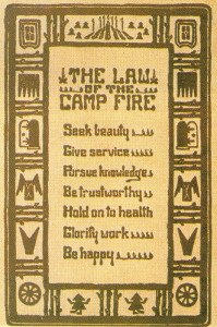 The Law of the Camp Fire as memorised by every Camp Fire Girl.