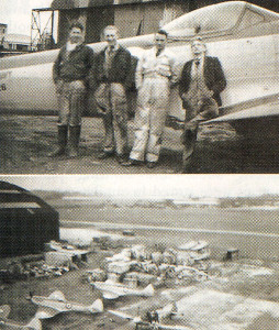Top: The flight gang at Eastleigh Flight Shed in 1949, with Brian Simpson second from left, standing in front of a Seafire 17. Above: Vickers' Eastleigh in 1949, with Brian Simpson standing in front of a Seafire 15. The photograph was taken from the roof of Eastleigh Flight Shed.