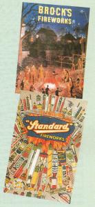 A nostalgic bonfire scene from a Brock's Fireworks shop window poster.