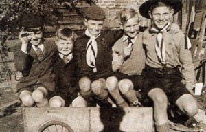 Childhood days remembered: from left are Mickey Prescott, Johnny Rowden, the author, Maurice Rowden and the author's brother Bill.
