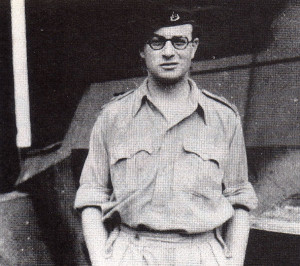 Captain Peter Marchant, Fifth Reconnaissance Regiment, Armoured Division, pictured while on active service in Italy.