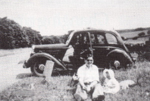 Plenty of room to pull off and get the food out...a roadside picnic in 1951.