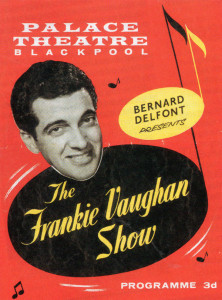 The 1961 programme for Bernard Frankie Vaughan Show at the Palace Theatre, Blackpool.