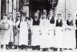 The staff of a branch of Clements & Sons in Wyndham Street. Their main shop, in the town's High Street, was the most important shop for food provisions. One of the men in this group became the writer's father-in-law at a very much later date.