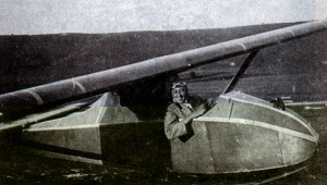 Left: Reg in Grunau Baby II glider, Dunstable, June 1939