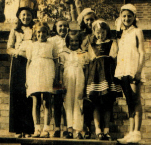 Rosemary (right) continued to perform for friends and neighbours - her wartime finale was at this VE-Day street